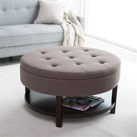 small round storage ottoman belham living coffee table storage ottoman with shelf