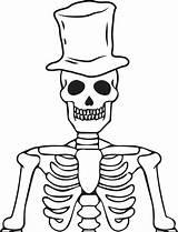 Skeleton Coloring Halloween Printable Hat Wearing sketch template