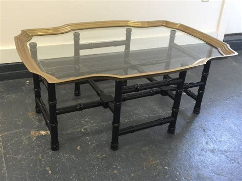 Baker Style Brass And Glass Tray-top Coffee Table At 1stdibs