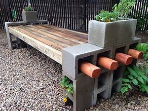 diy cinder block bench in the garden creative ideas for With homemade garden furniture ideas