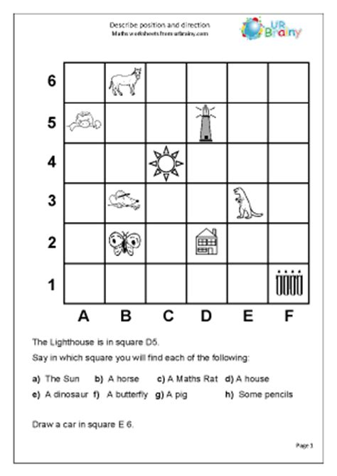 describe position geometry shape maths worksheets for year 3 age 7 8