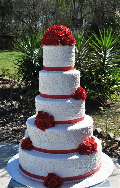 Red And White Wedding Cake Lace And Flowers The Cake Zone
