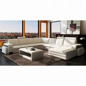 canape d39angle panoramique cuir blanc 10 places ha achat With canapé d angle largeur 180