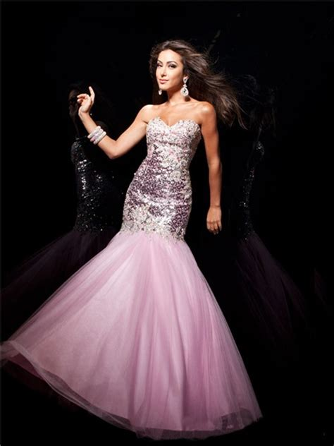 mermaid trumpet sweetheart long pink sequin tulle prom