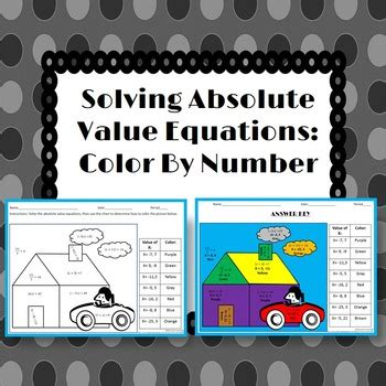 Solving Absolute Value Equations Color By Number By 4 The Love Of Math