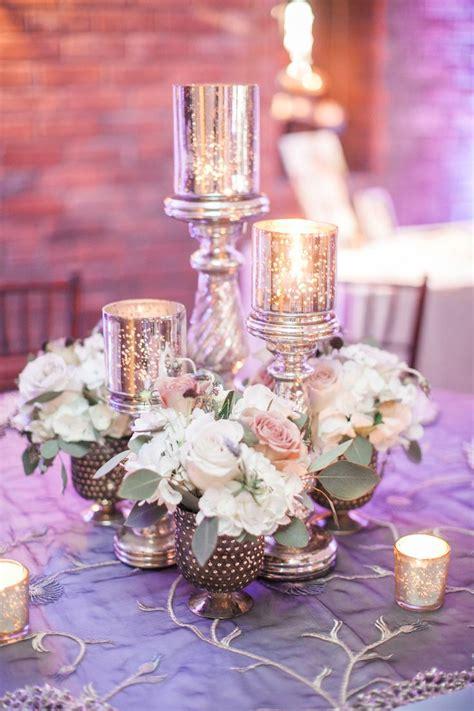 wedding centerpiece  set   silver mercury glass