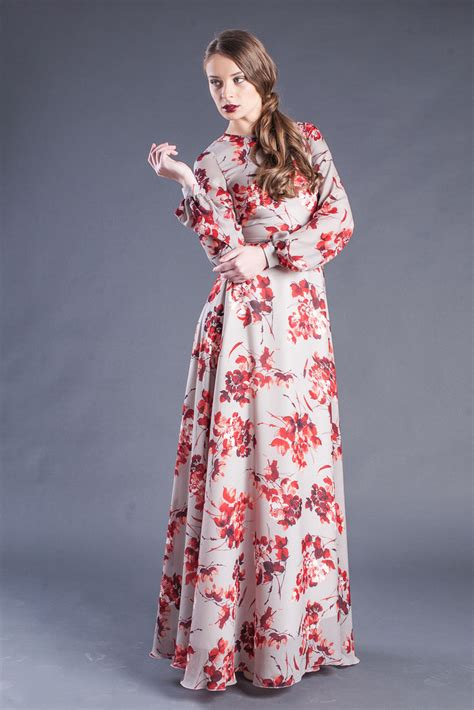 Floral dresses for women long sleeve maxi