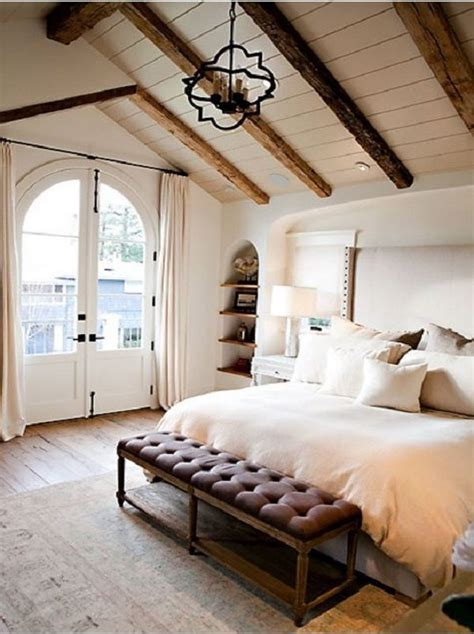 master bedroom idea vaulted ceiling  exposed beams