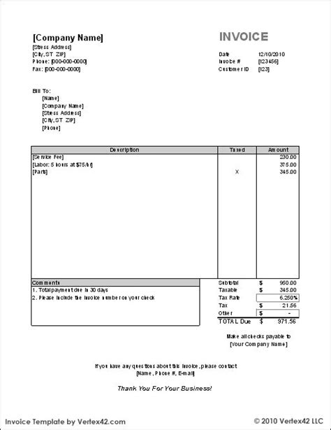 invoice template sample invoice  templates