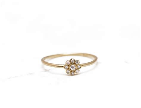 Delicate Engagement Ring Flower Gold Ring Unique Diamond