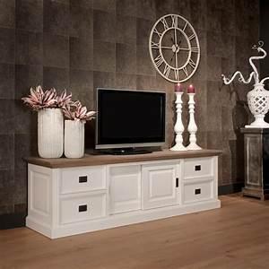 Tv Schrank Weiß : tv schrank lowboard wei im landhausstil breite 200 cm ~ Frokenaadalensverden.com Haus und Dekorationen