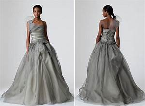 pewter vera wang wedding dress with full a line skirt With grey wedding dress vera wang
