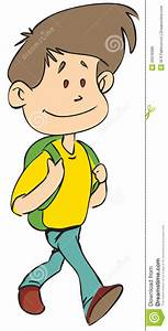School Boy Walking In Color Version Stock Illustration ...