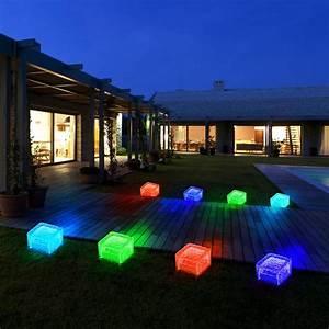 8er set rgb led solar lampen eis wurfel balkon aussen With französischer balkon mit led leuchten garten