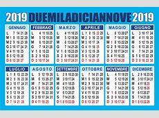 Calendario 2019 annuale