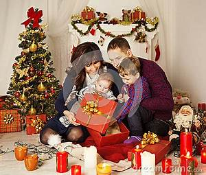 Christmas Family Open Present Gift Box Mother Father Baby