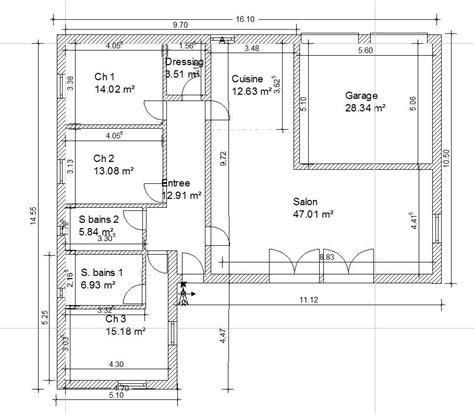 plan maison plain pied 2 chambres gratuit plan maison 130m2 plain pied