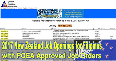 new zealand job openings for filipinos in 2017 vacant positions and manpower agency list