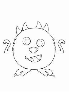 Ausmalbild Halloween Kugelrundes Monster Kostenlos Ausdrucken