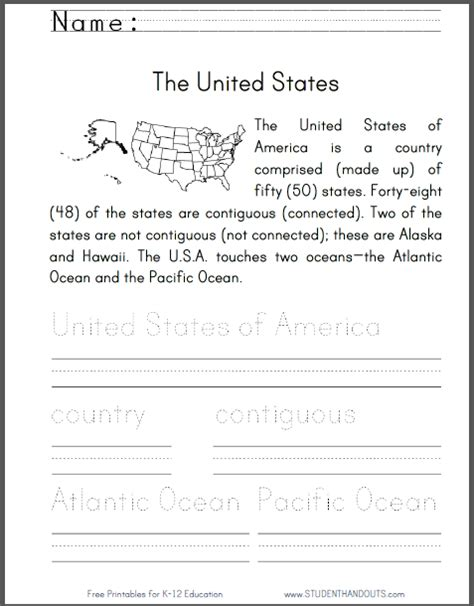 united states primary worksheet
