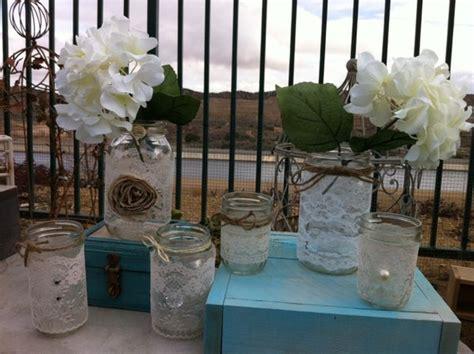 Lace Wedding Decor. 12 Vintage Lace Mason Jars Lanterns/vases