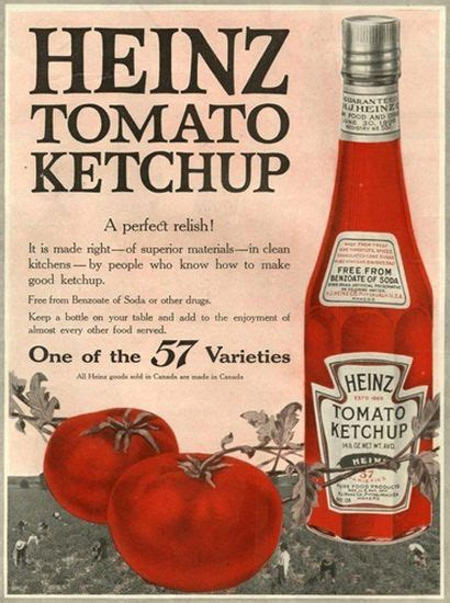 Heinz Tomato Ketchup 57 Varieties Perfect Relish   Vintage ...