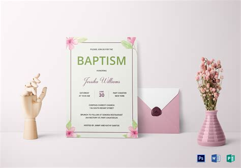 Floral Baptism Invitation Card Design Template in Word