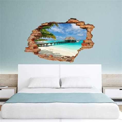 """Wall Decal Landscape \""""beach, Palms And Bungalow\"""" Cheap. Wristband Signs. Exam Stickers. Shop Name Signs Of Stroke. Leather Stickers. Instagram Decals. Convocation Banners. Headlight Decals. Report Signs"""