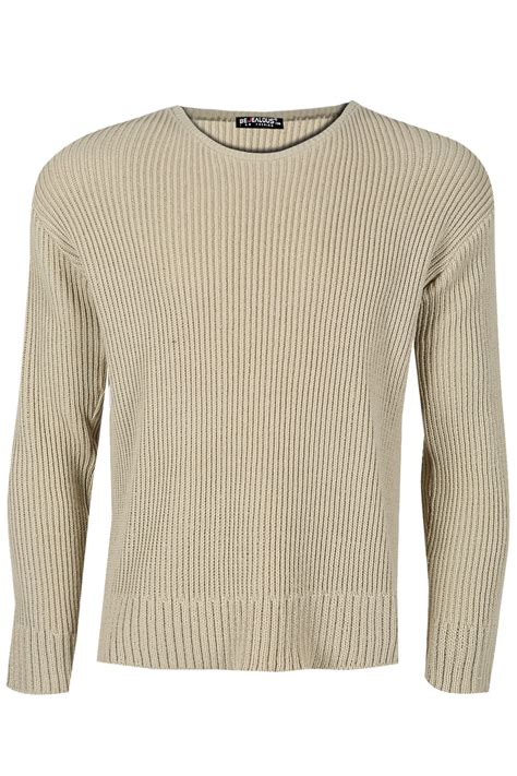 mens chunky knit sweater mens branded sleeve crew neck ribbed chunky knitted