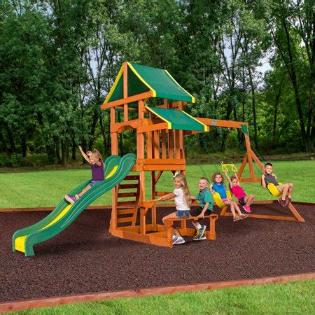 backyard discovery cedar view swing set backyard discovery tucson cedar wooden swing set walmart