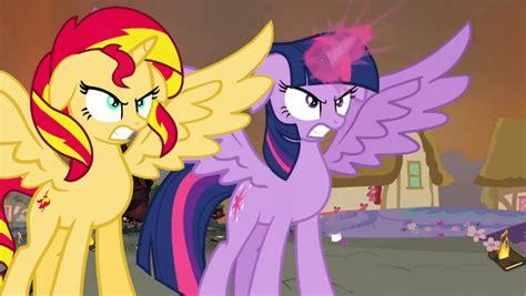 Twilight Sparkle And Sunset Shimmer Stand Together By Favoriteartman On Deviantart
