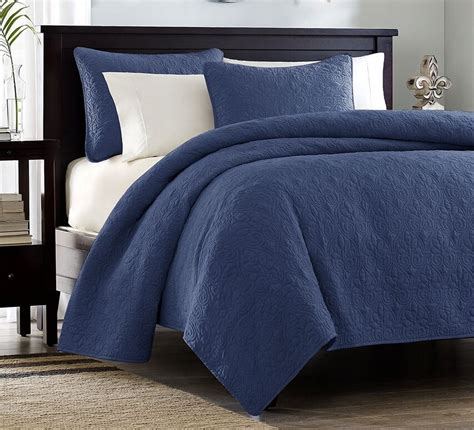 Navy Blue Coverlet by Navy Blue Matelasse 3p Quilt Set Cotton Fill