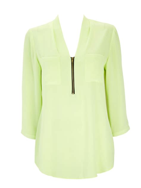 lime green blouse wallis lime zipe front blouse in green lime lyst