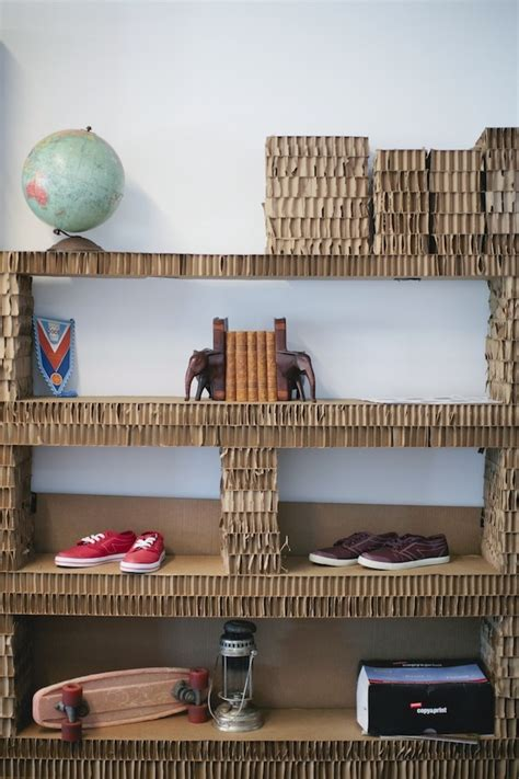 upcycled cardboard shelving  atthe peoples movement