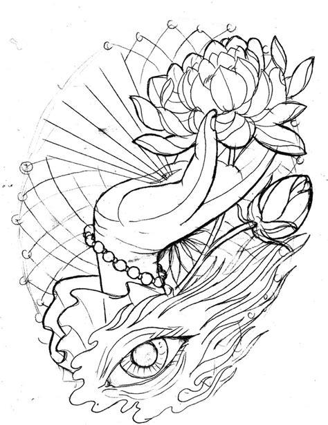 Neo-Traditional Lotus Hand Eye - Sketch by TattooMasterZAO.deviantart.com | Tattoo Inspiration