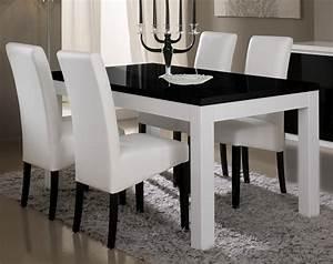 Table de salle a manger design laquee blanche et noire for Salle À manger contemporaine avec salle a manger blanche design