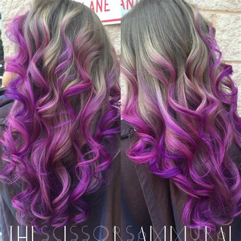 Ashy Blonde To Pinkpurple Balayage Hair Colors Ideas