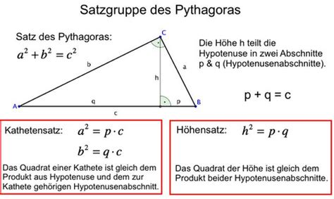 satz des pythagoras kathete berechnen pythagoras im