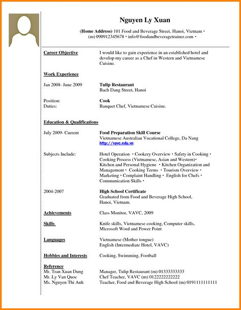 Sle Resume Without Work Experience by Work Experience Resume