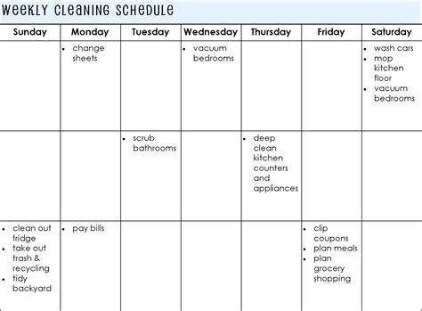weekly cleaning schedule template house cleaning house cleaning plan weekly meals