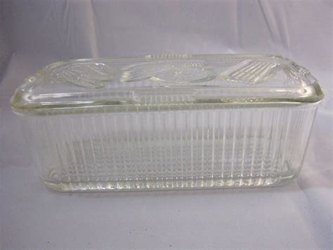 cuisines sold馥s clear glass refrigerator container storage vintage federal glass company 2 food storage containers