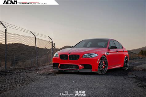 red bmw matte red bmw f10 m5 with adv 1 wheels