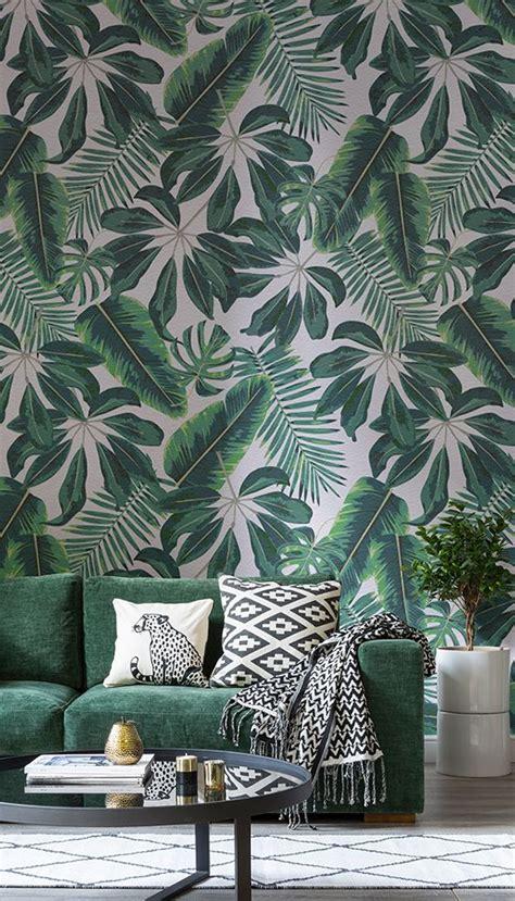 mixed tropical leaves wallpaper   wall wallpaper