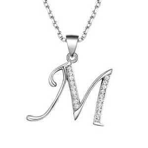 p women s sterling silver initial pendant necklace made with swarovski elements crystal letter m 9559