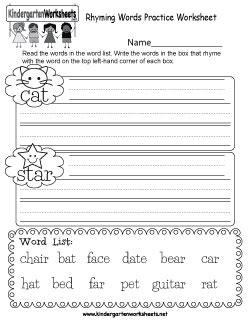 kindergarten rhyming words worksheets understanding