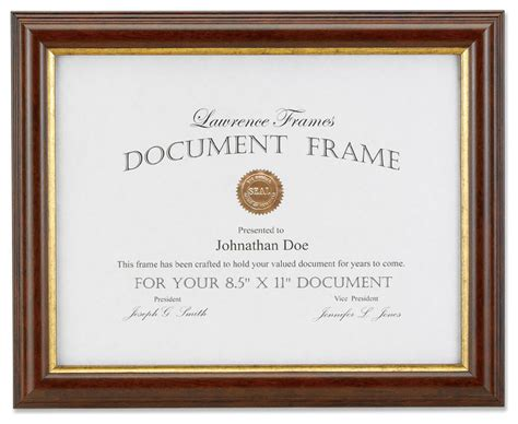 walnut  gold document  picture frame brown
