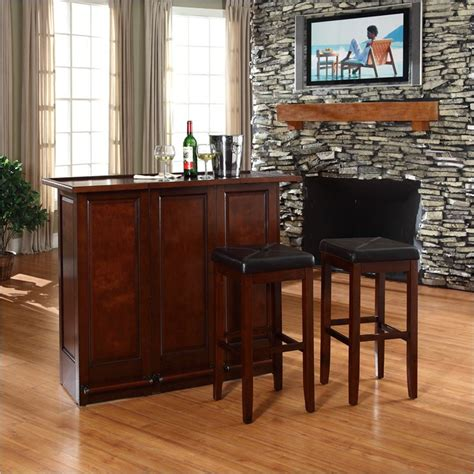 Folding Home Bar by Crosley Mobile Folding Home Bar In Vintage Mahogany With