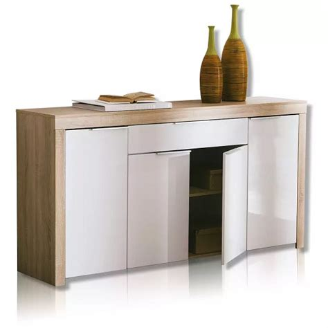 White Gloss And Oak Sideboard by Comida Sideboard In Brushed Oak And White High Gloss Fronts