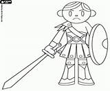 Coloring Medieval Battle Pages Soldier Army Games sketch template