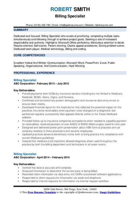 Billing Specialist Resume by Billing Specialist Resume Sles Qwikresume